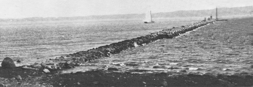 View of the breakwater under construction.