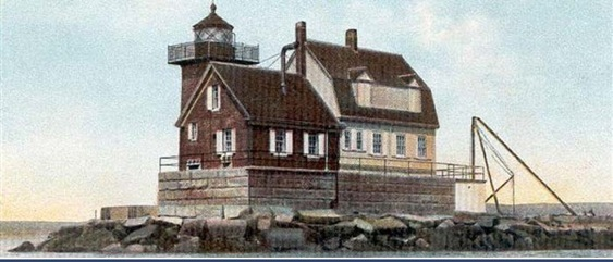 Historic picture of Rockland Breakwater Lighthouse.